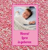 Bellenblaas geboorte met foto en roze muisjes