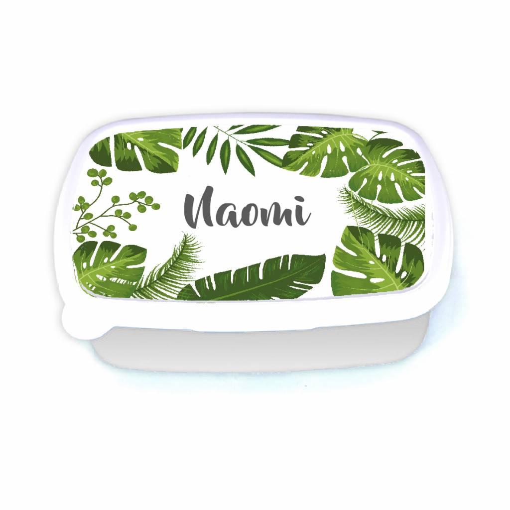 Lunchbox tropical leafs met naam