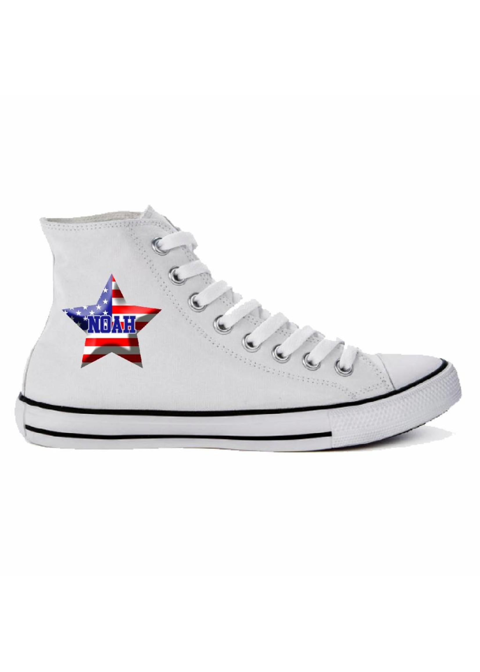 Schoen met Amerikaanse vlag en naam