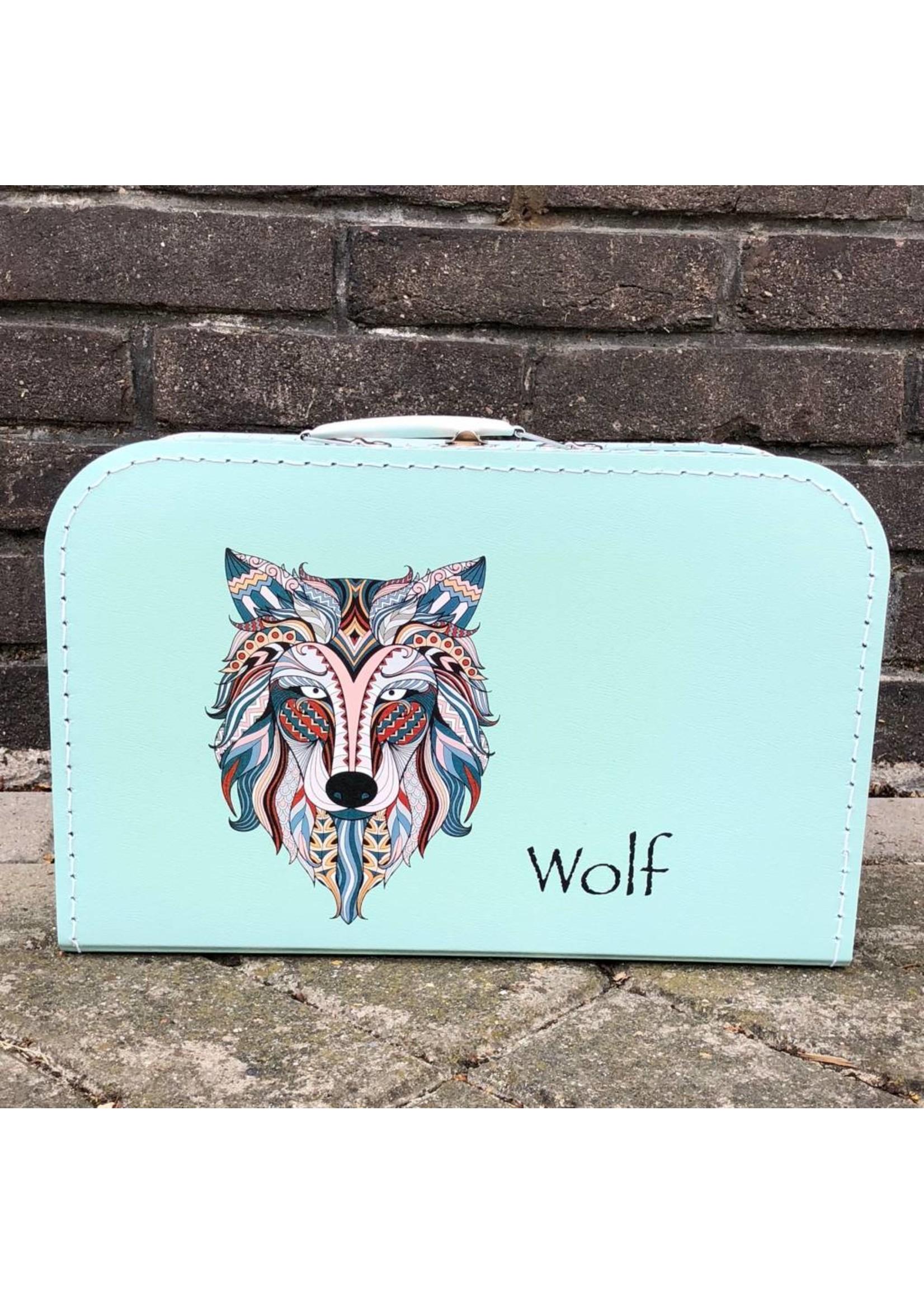 Kinderkoffer wolf met naam