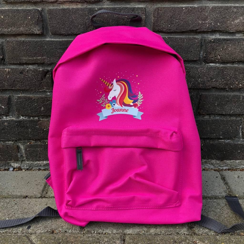 Rugzak unicorn met naam - fuchia
