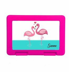 Lunchbox flamingo met naam