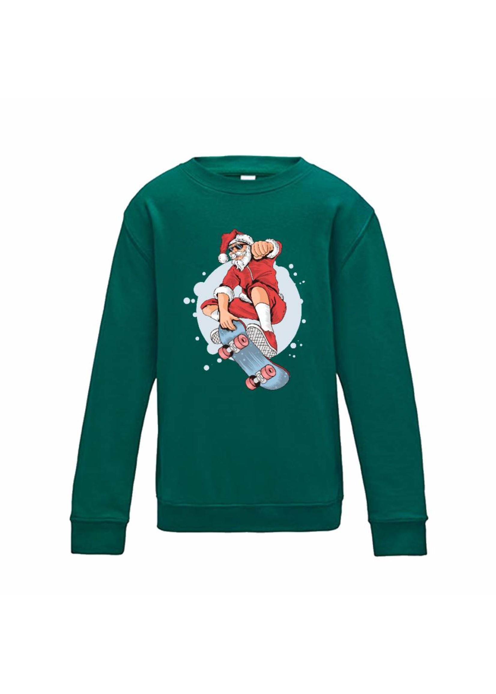 Kerst sweater kerstman op skateboard