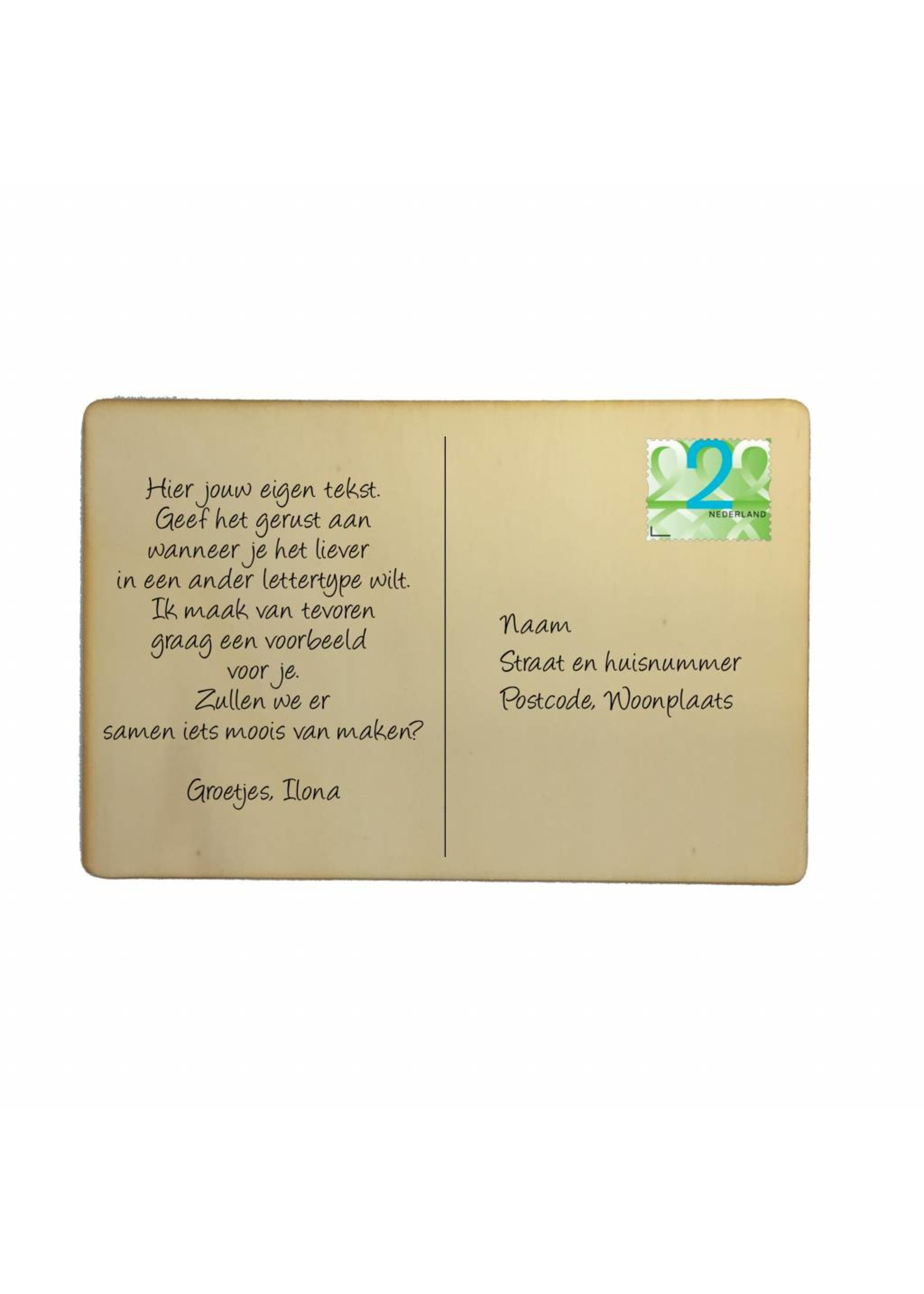 Houten kaartje It costs €0,00 to be nice