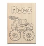 Monster truck op hout schilderen