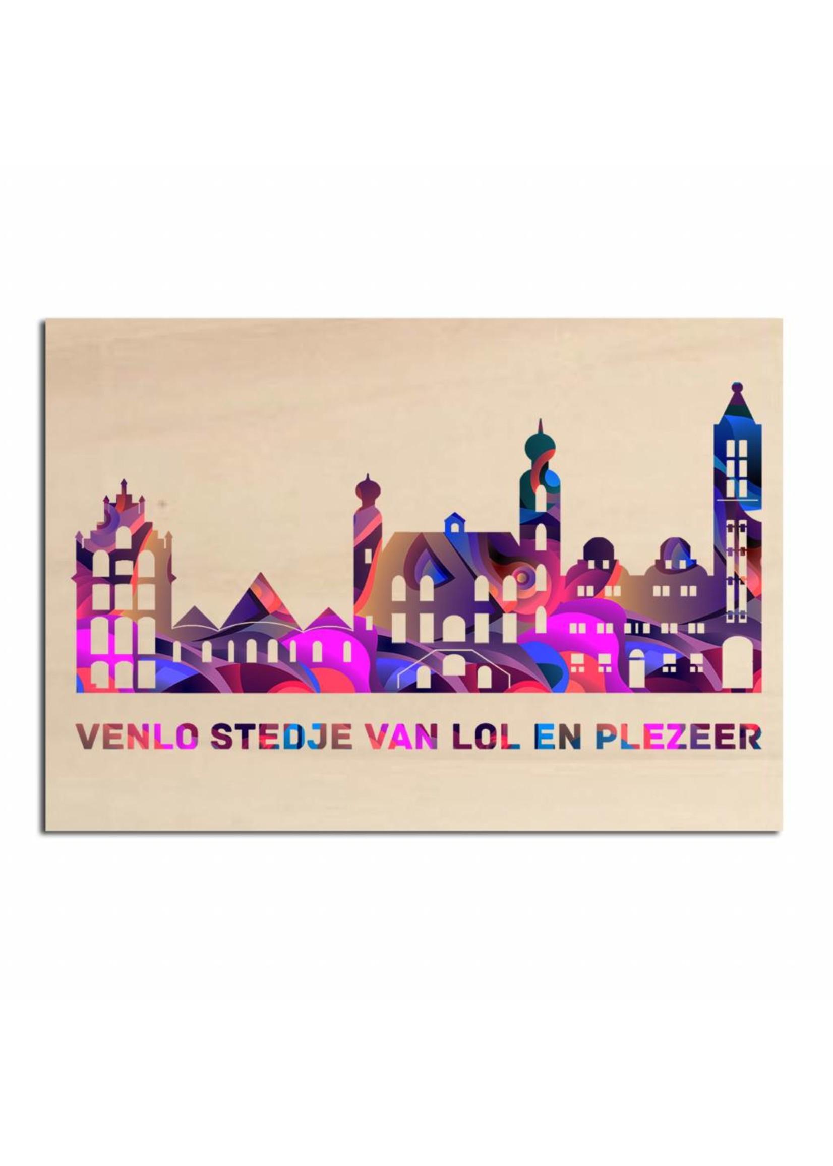 Skyline Venlo gekleurd op hout