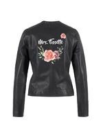 Biker jacket boho flower met naam