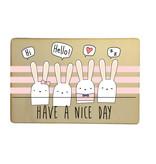 Houten kaartje Have a nice day - konijntjes