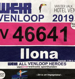 Naamsticker voor startbewijs Venloop