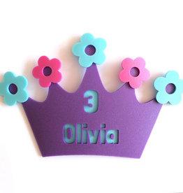 Kroon bloemen met naam