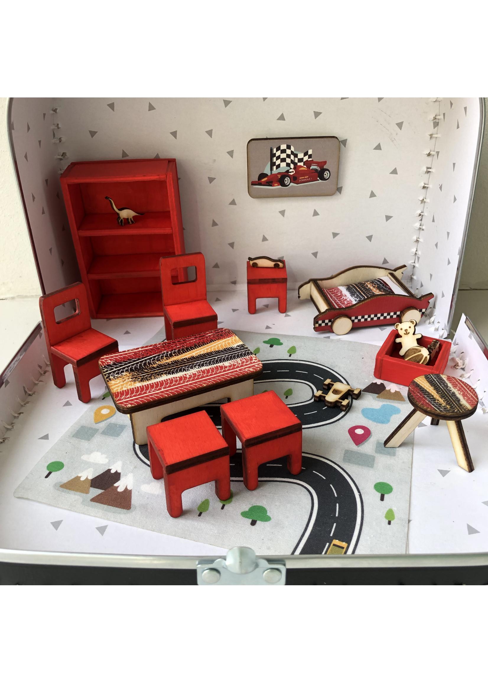 Kinder koffer raceauto