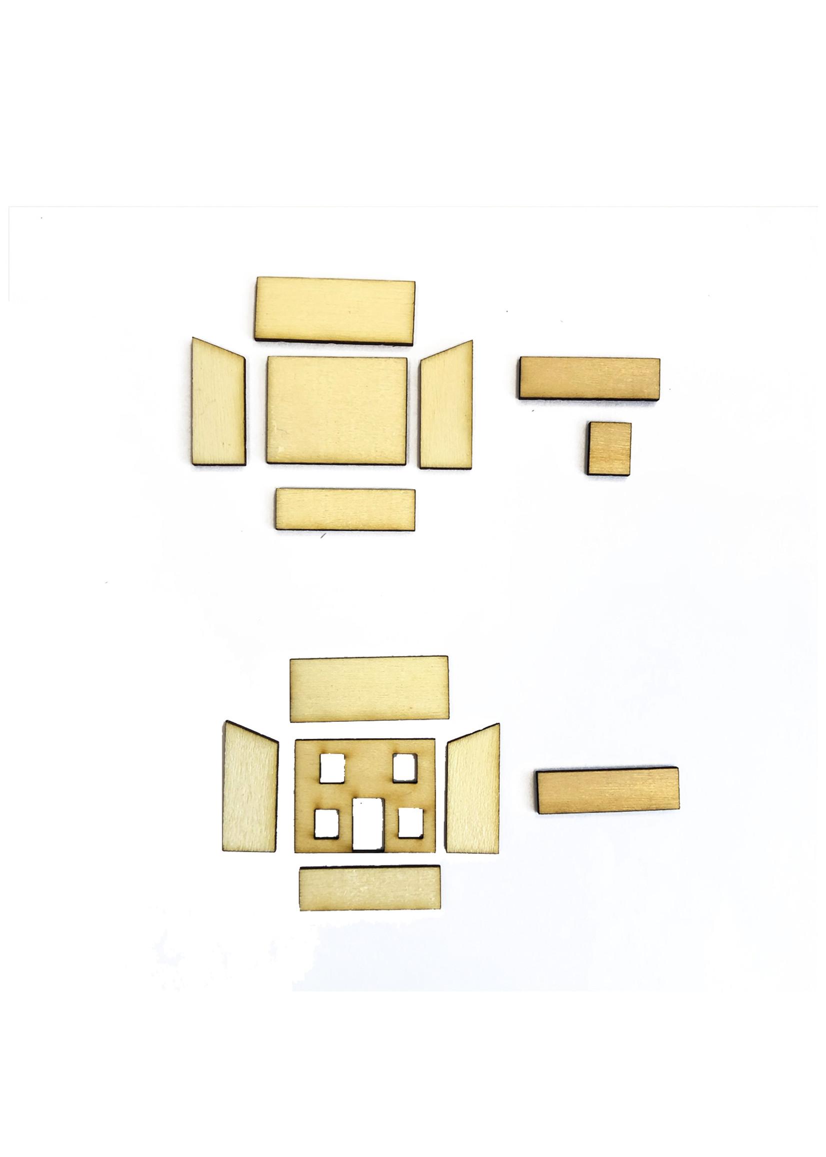 Zelfbouw pakket om een mini poppenhuisje te bouwen