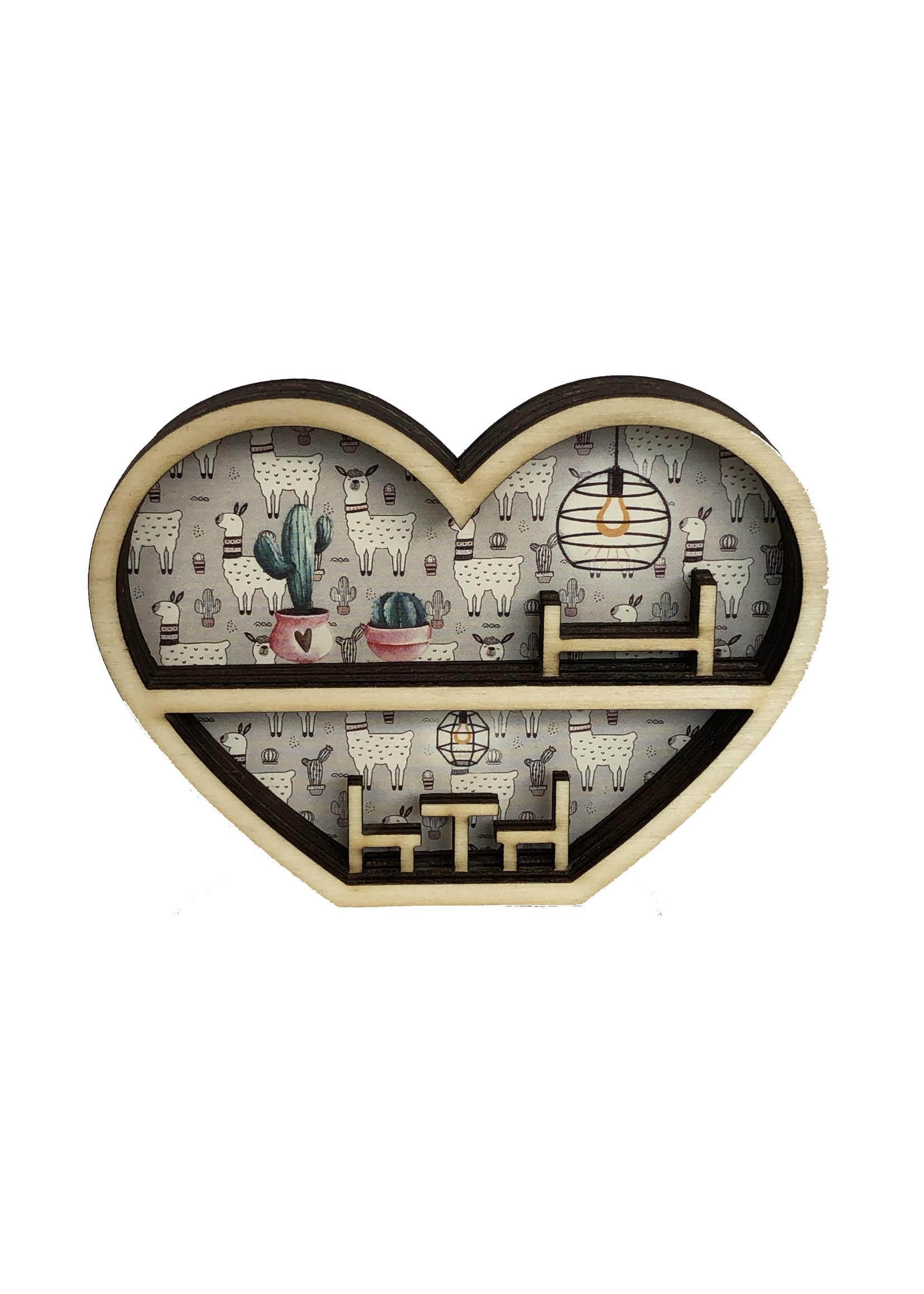 Mini poppenhuisje in hart vorm in lama thema