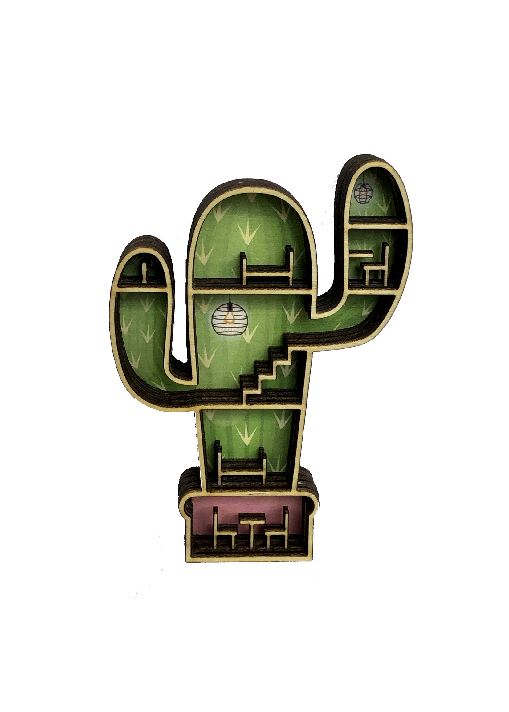 Mini poppenhuisje in cactus vorm