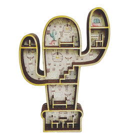 Mini poppenhuisje in cactus vorm in lama thema
