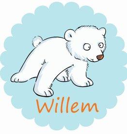Sticker ijsbeer met naam - groot