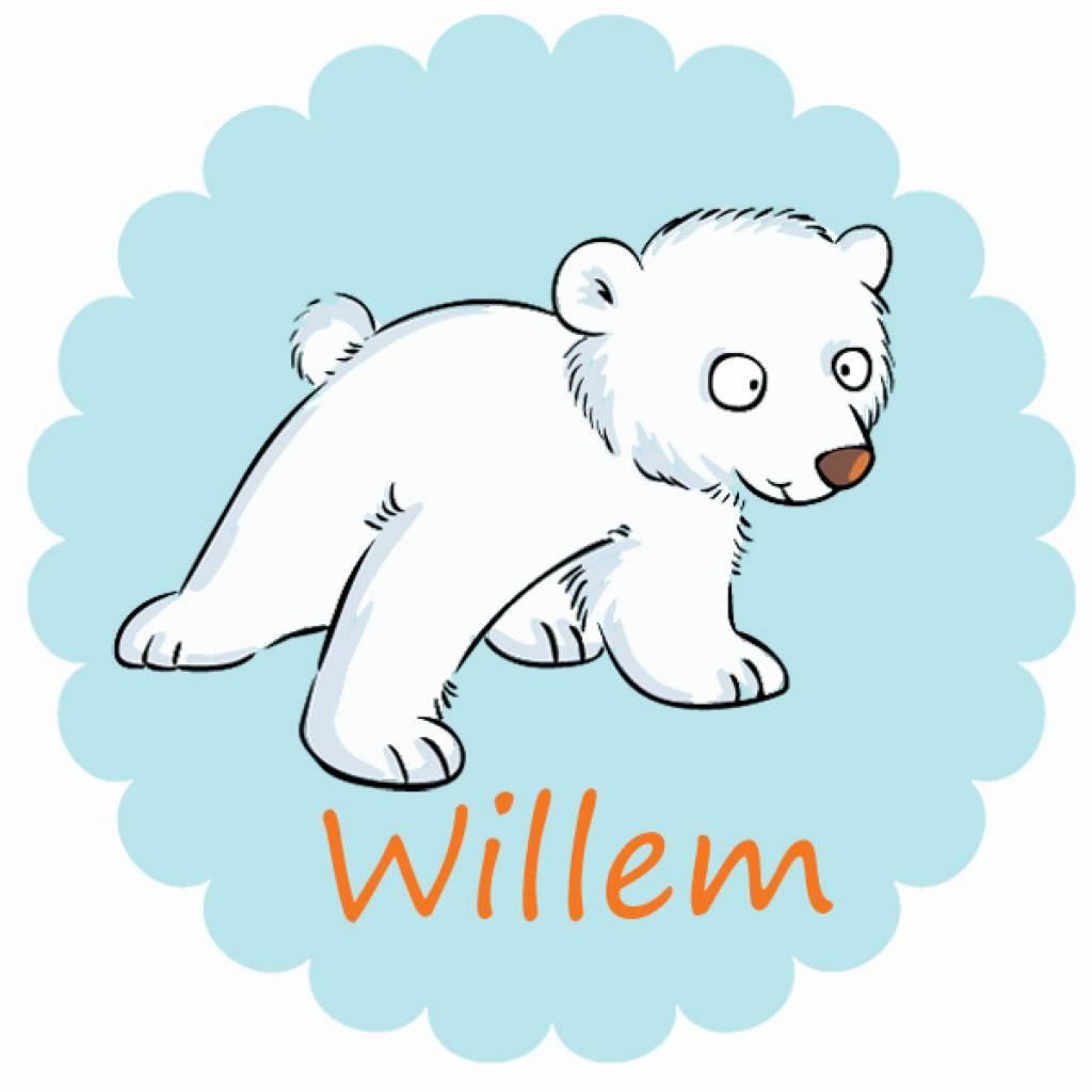 Sticker ijsbeer met naam