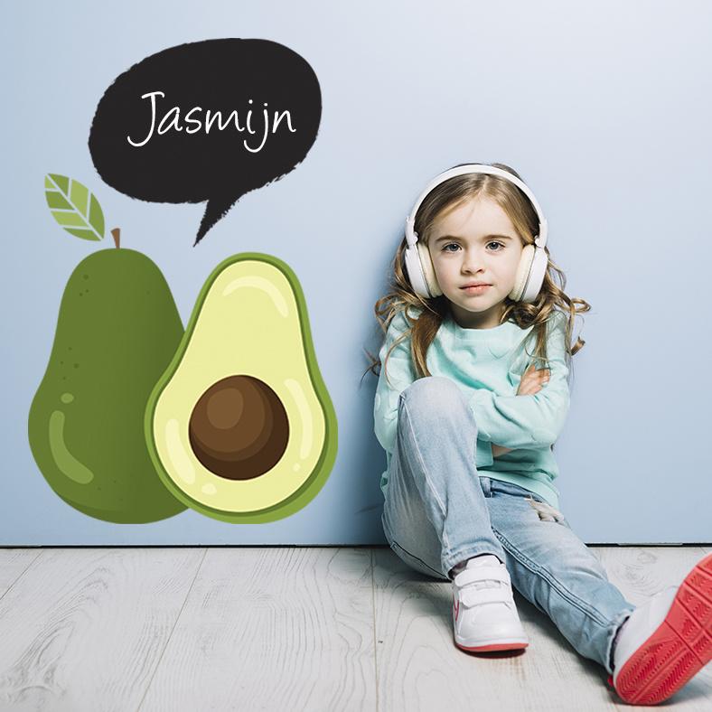 Muursticker avocado met naam