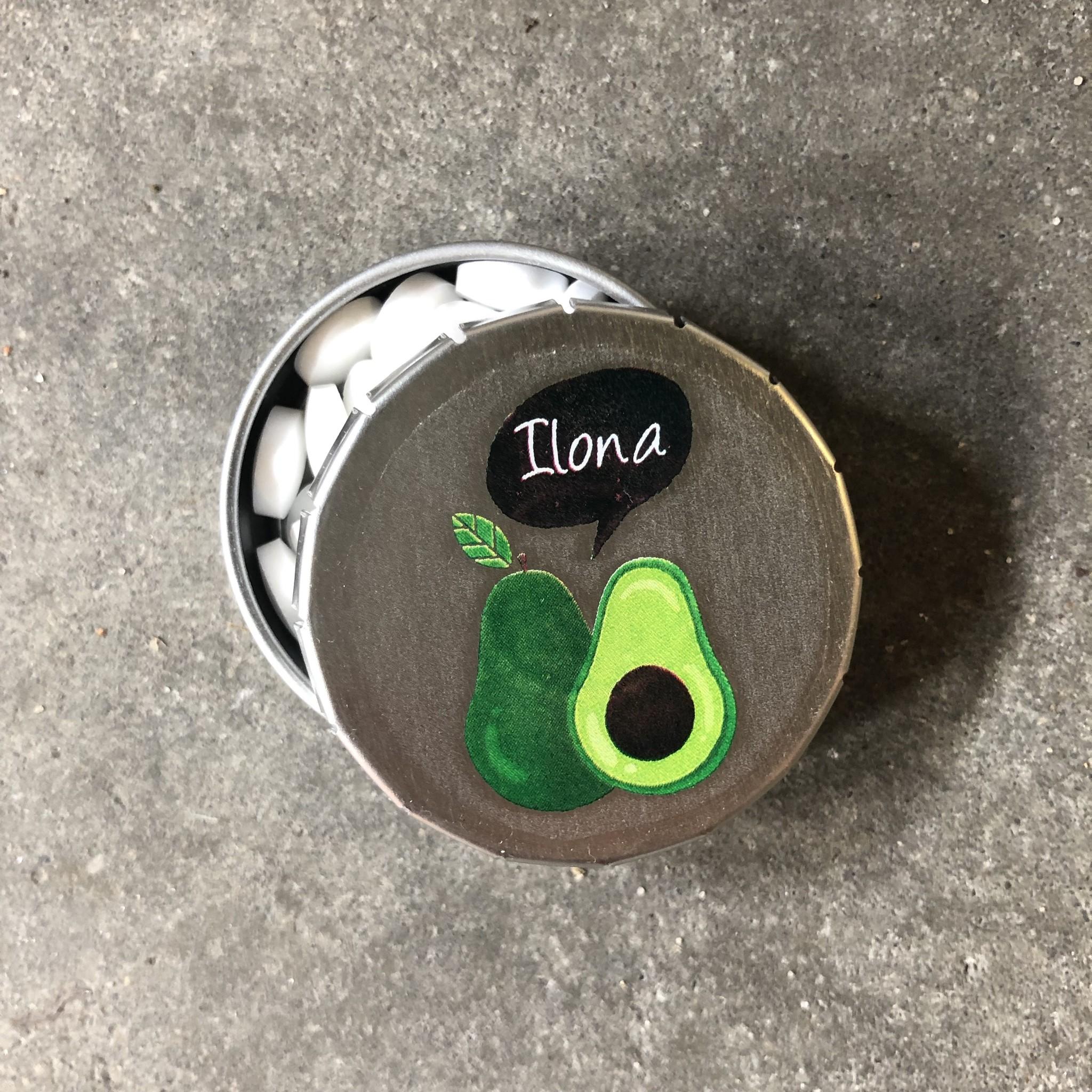 Blikje met pepermuntjes avocado naam