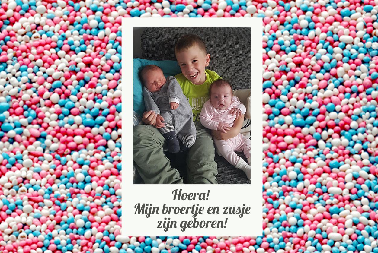 Bellenblaas geboorte met foto en blauwe muisjes