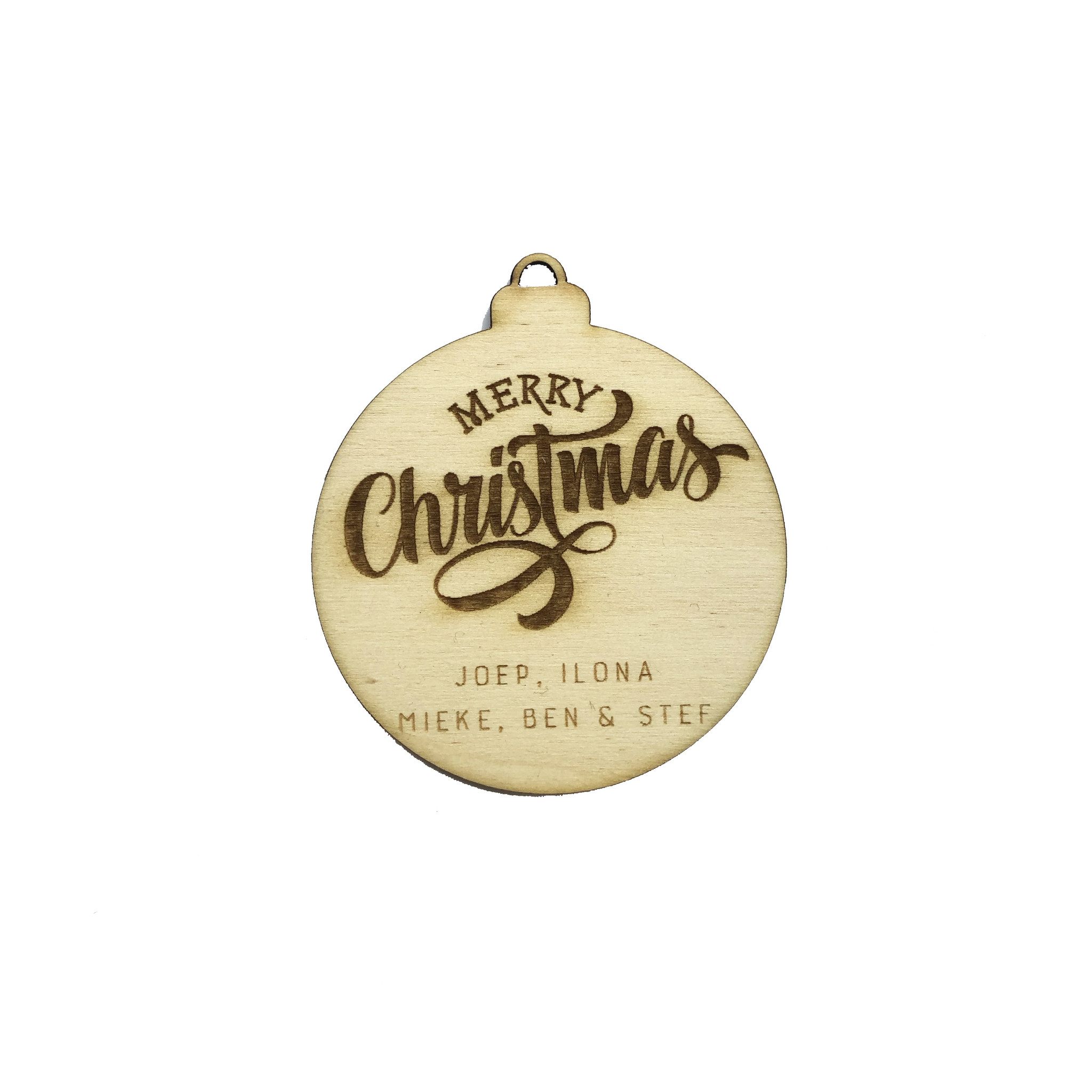 Kerstbal label Merry Christmas hout met naam