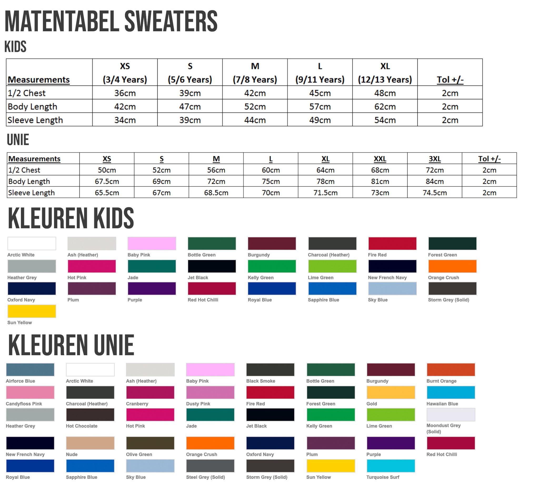 Maten en kleuren sweaters