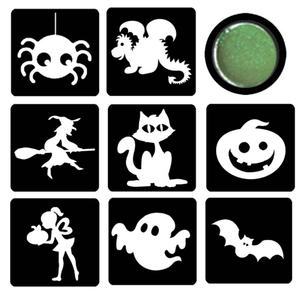 Sjabloon Pompoen Halloween.Glittertattoo Set Halloween 2