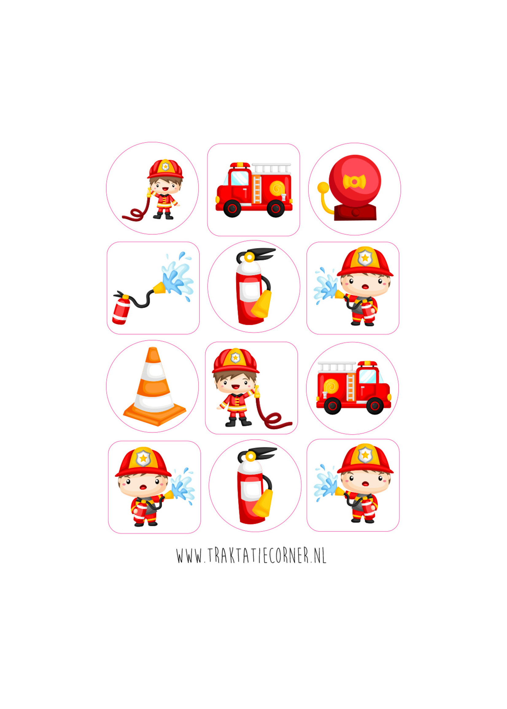 Brandweer stickers - 12 set