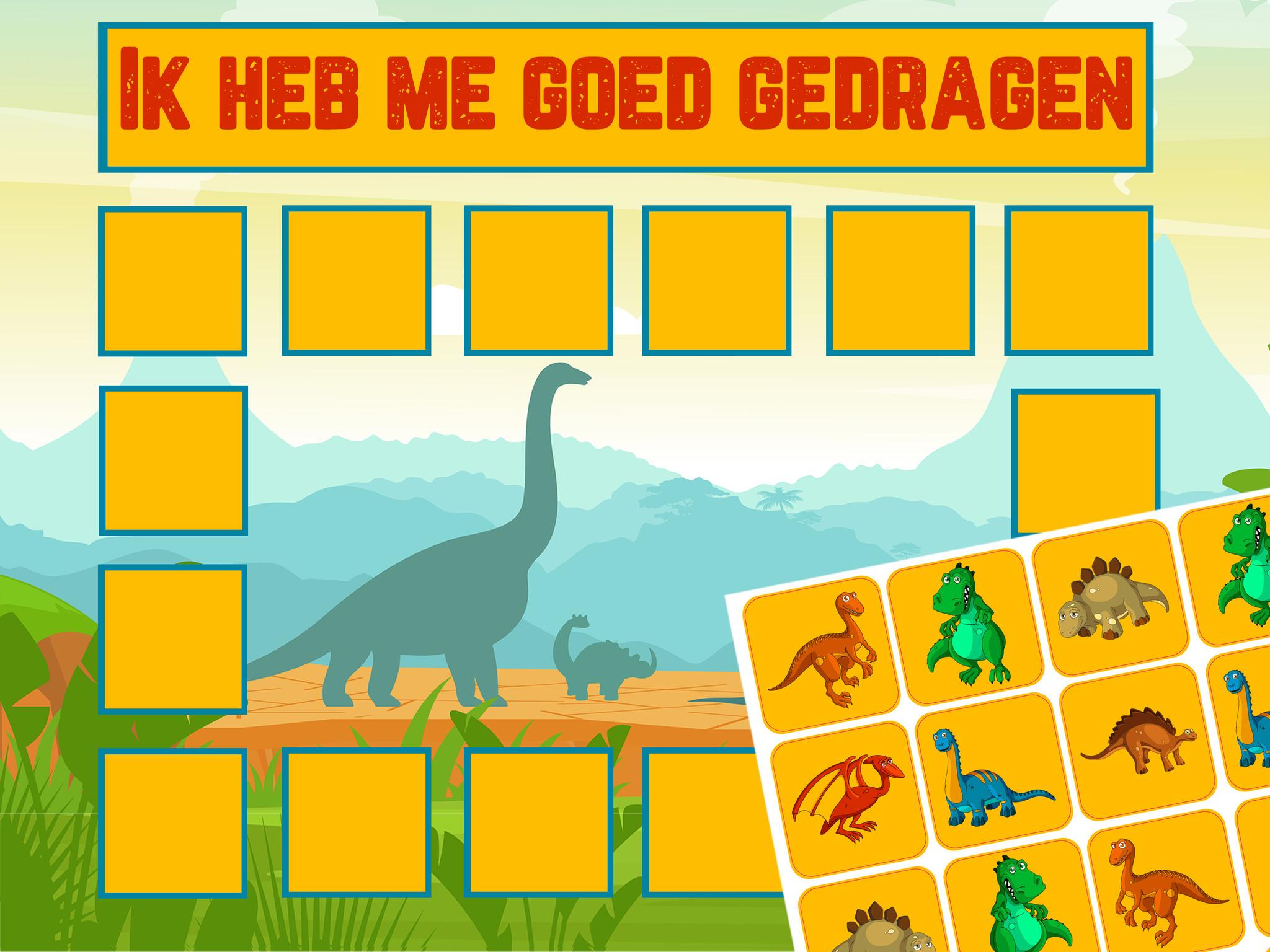 Beloningskaart Dino met leuke stickers