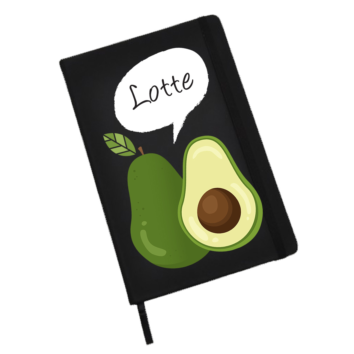Notitieboekje (groot)  met avocado en naam of andere tekst