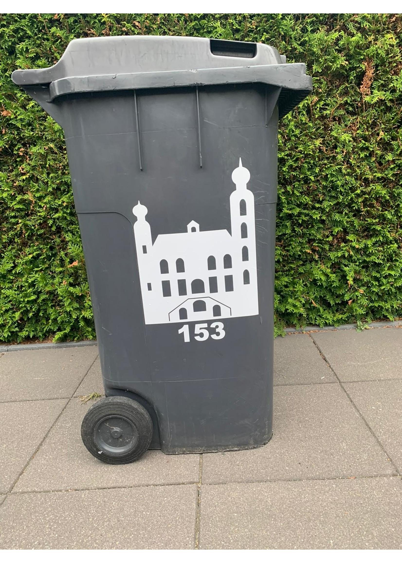 Sticker stadhuis Venlo en huisnummer voor  container
