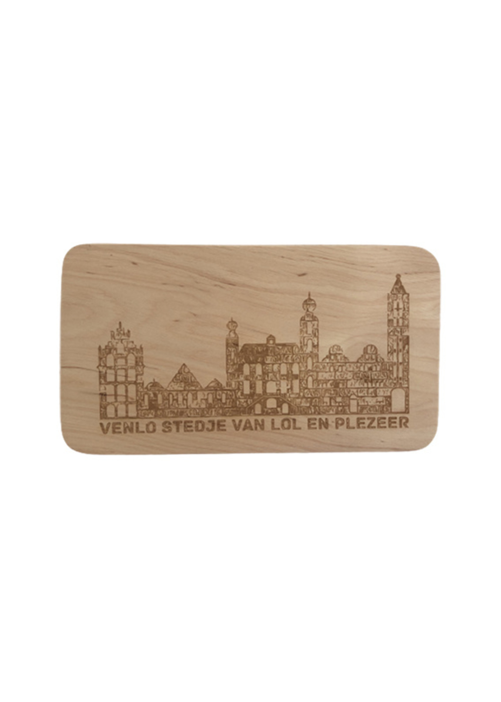 Houten broodplank met de skyline van Venlo