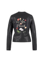 Biker jacket naam en bloemen