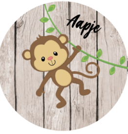 Sticker aap met naam - groot