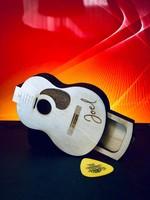 Houten plectrum bewaardoos in gitaar vorm