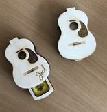 Houten plectrum bewaardoos in gitaar vorm met naam