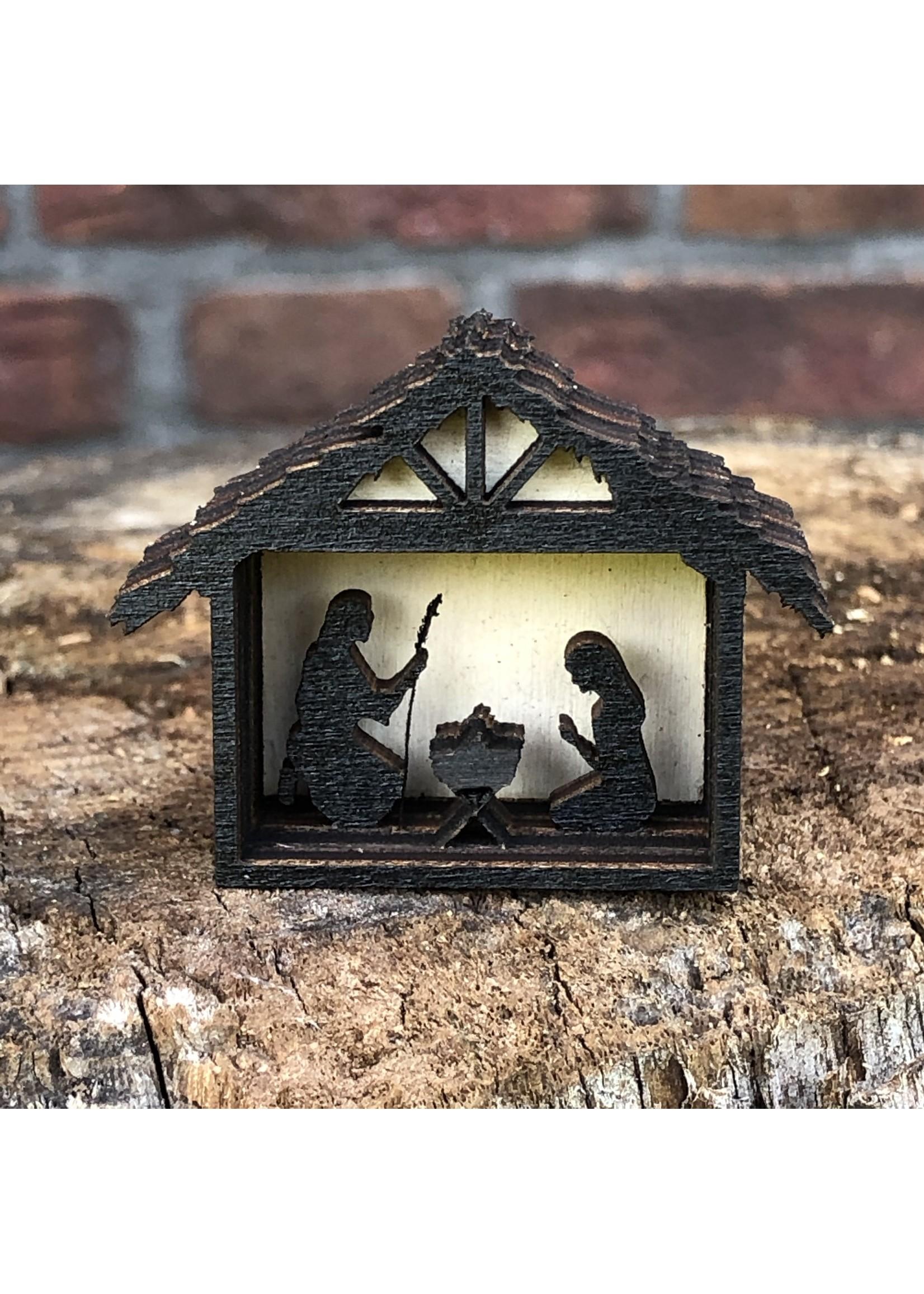 Houten miniatuur kerstgroep