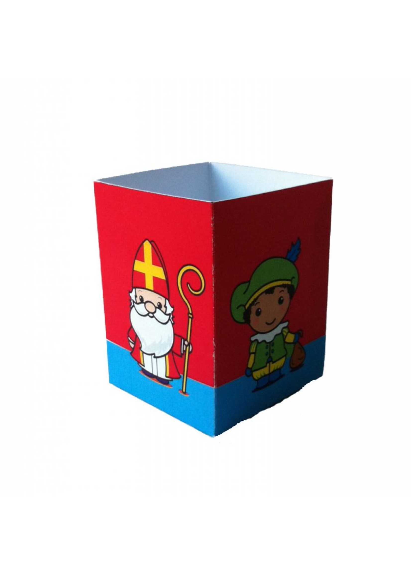 Traktatie doosje bedrukt met een Sinterklaas en pietjes in vrolijke kleuren.