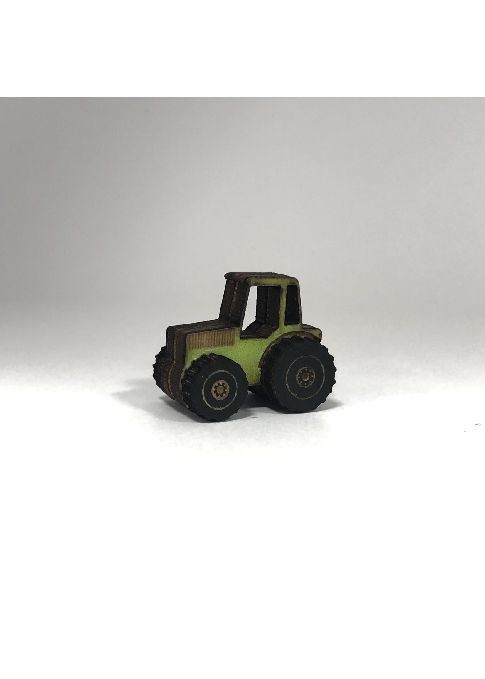 Miniatuur tractor voor in poppenhuis (zelf plakken)