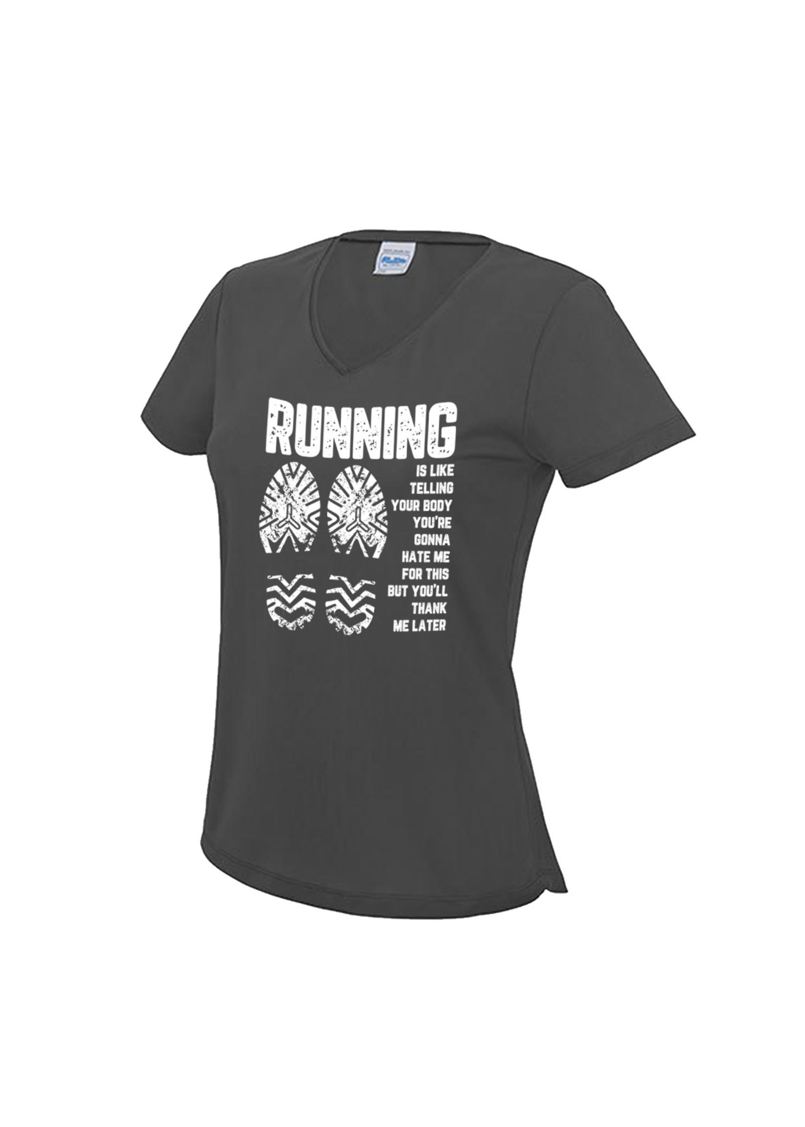 Hardloopshirt  met v-hals- Running is like telling your body