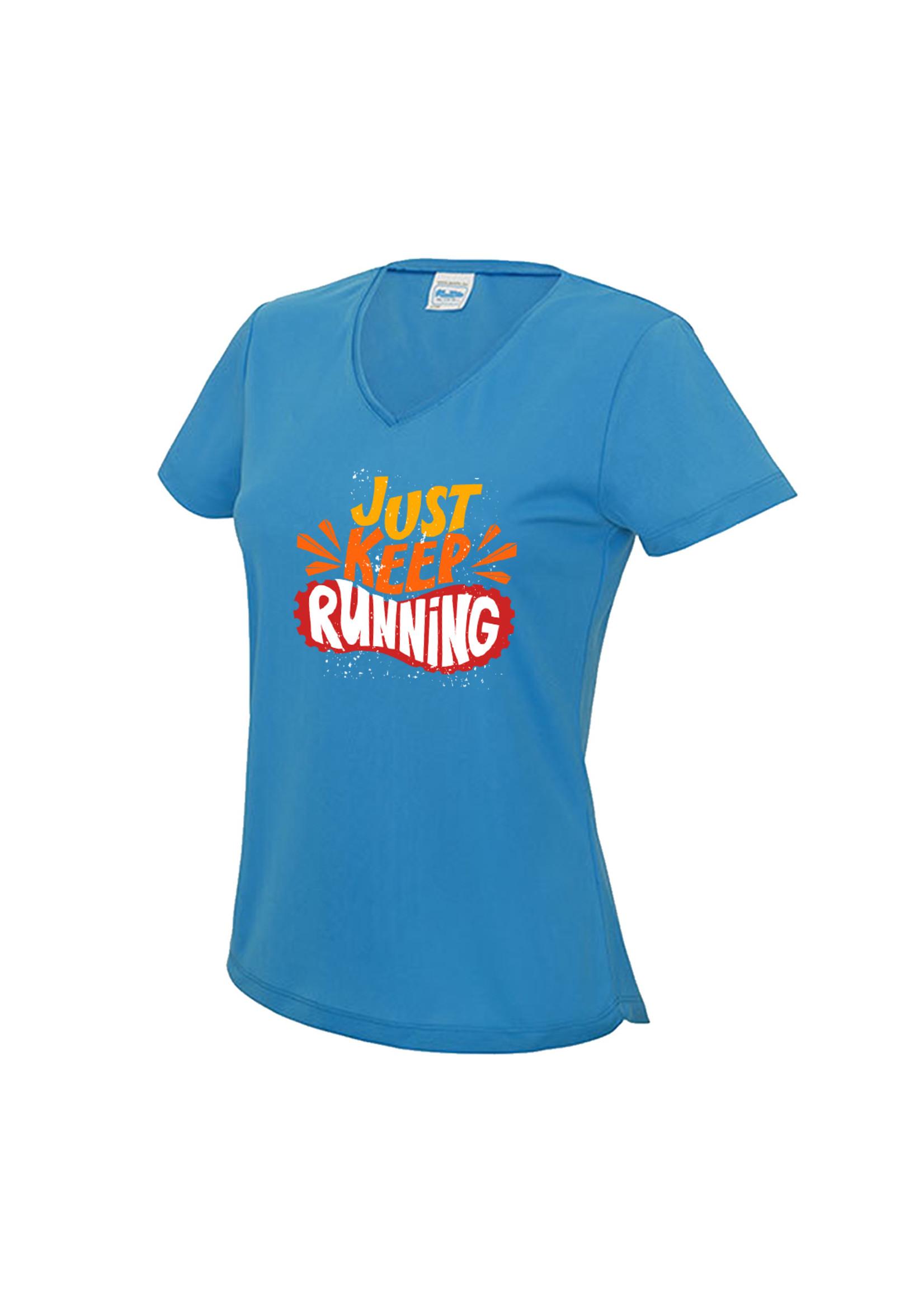 Hardloopshirt met v-hals - Just keep running
