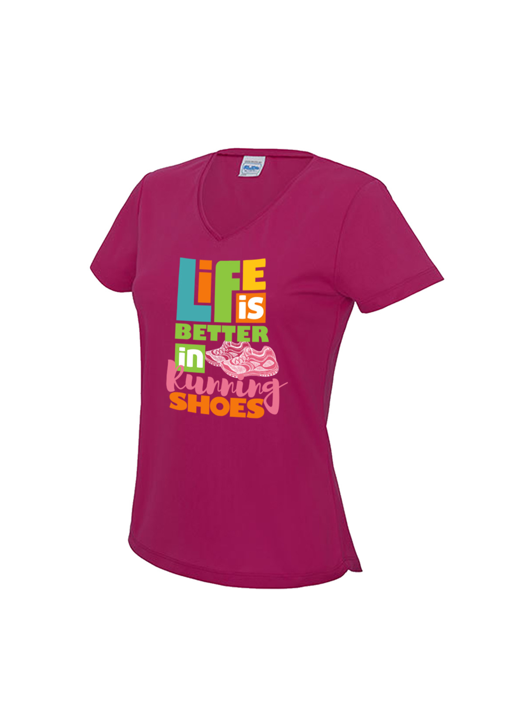 Hardloopshirt met v-hals - Life is better in running shoes