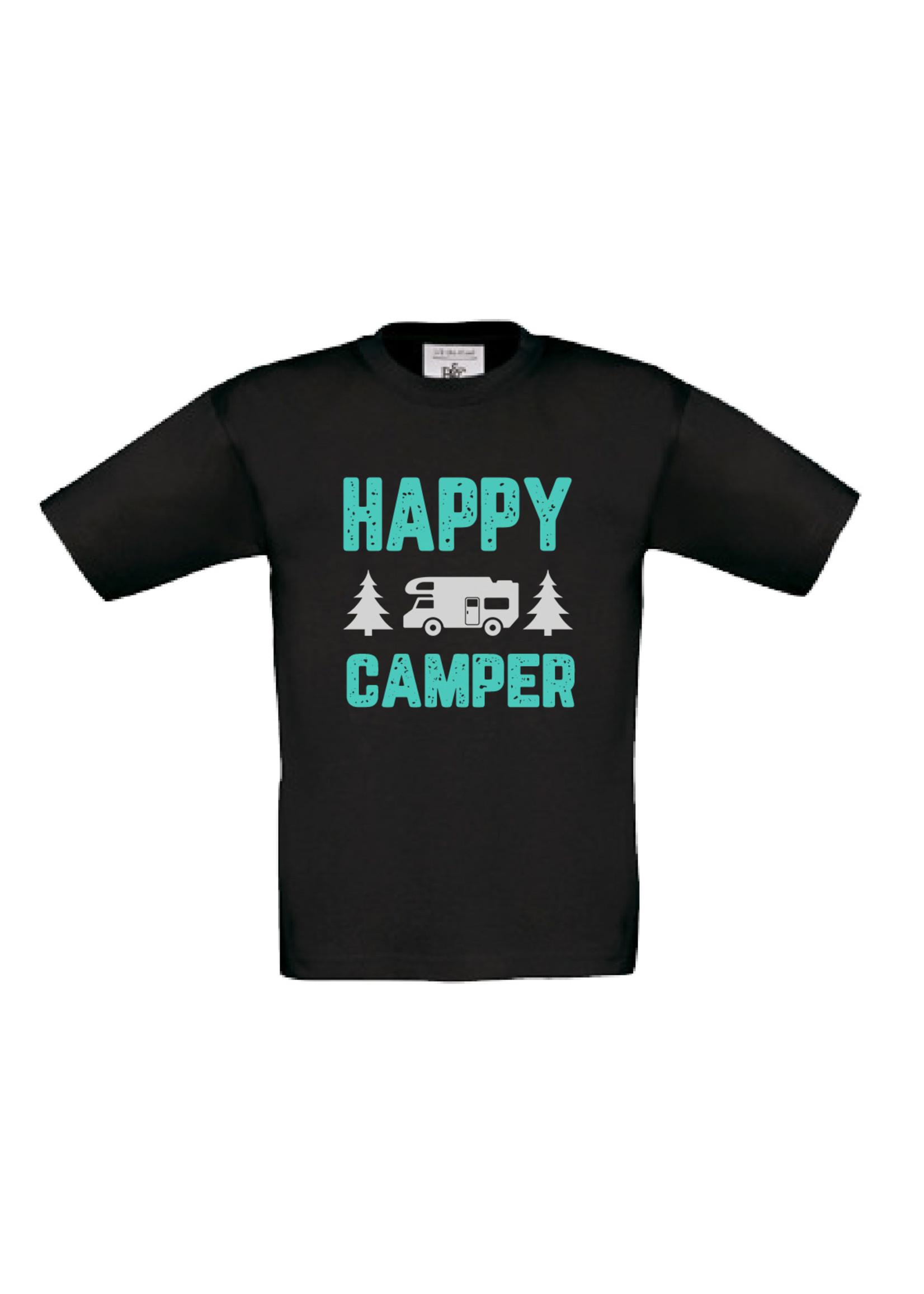 T-shirt happy camper - bedrukking oranje geel