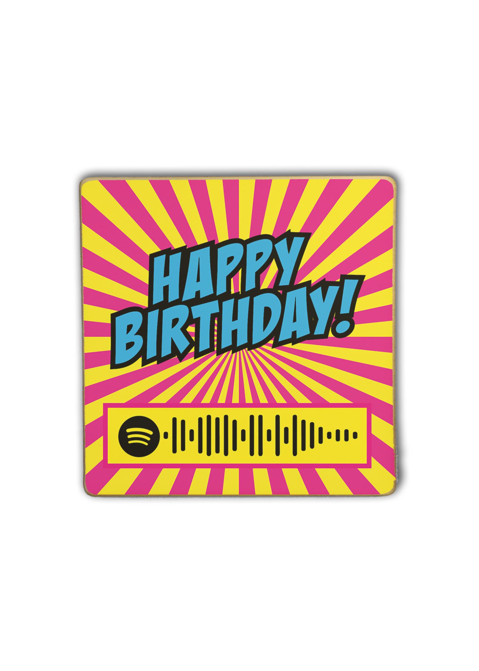 Houten Framed.beat Happy Birthday - Stevie Wonder (roze)