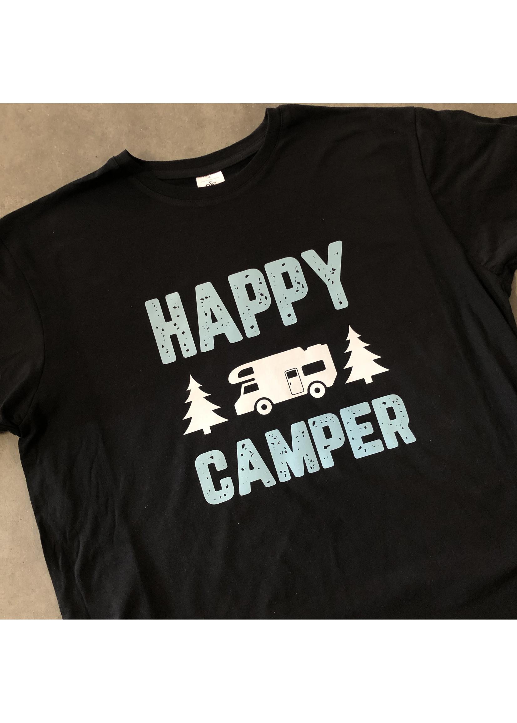 T-shirt happy camper - bedrukking wit