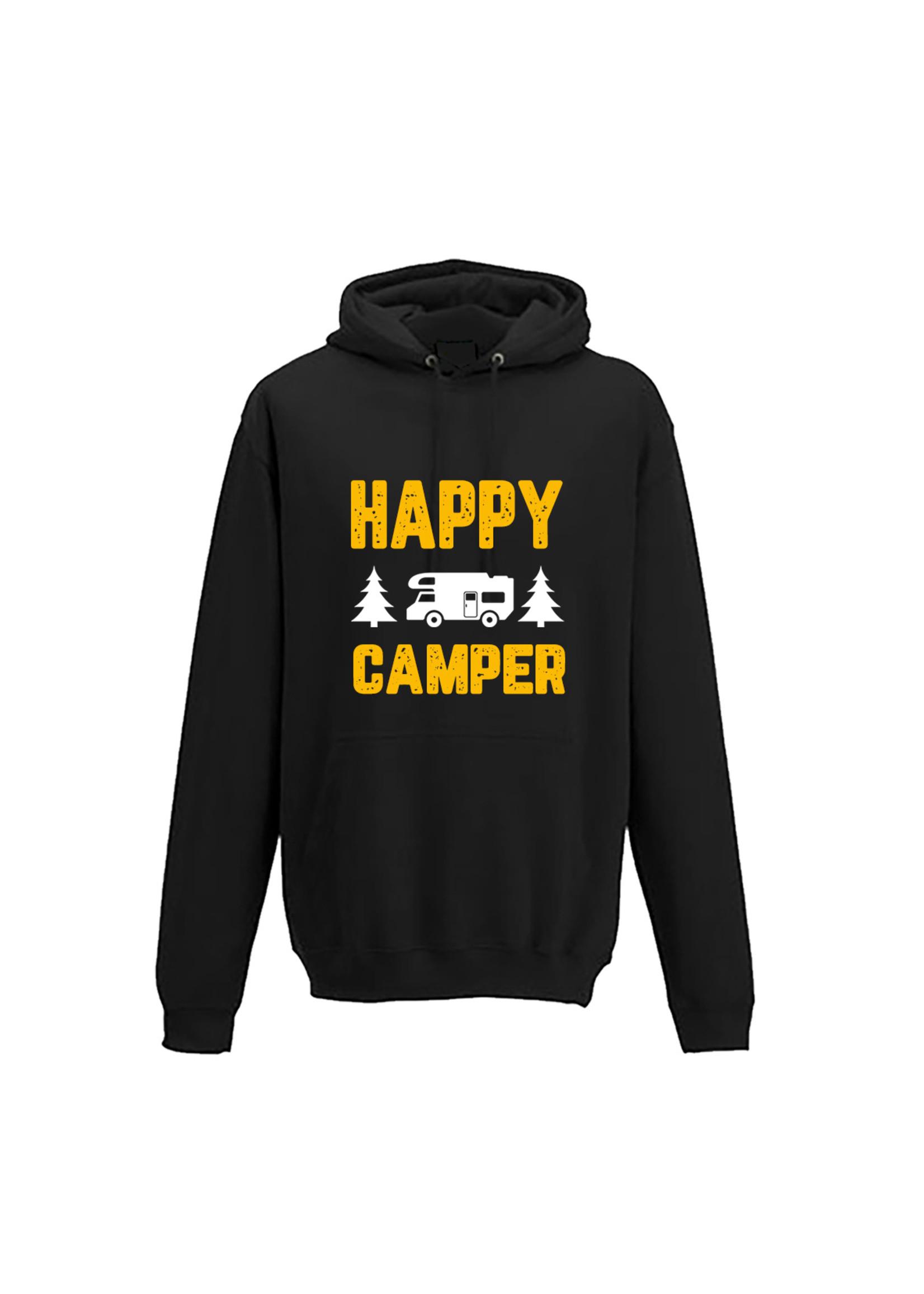 Hoodie happy camper - geel