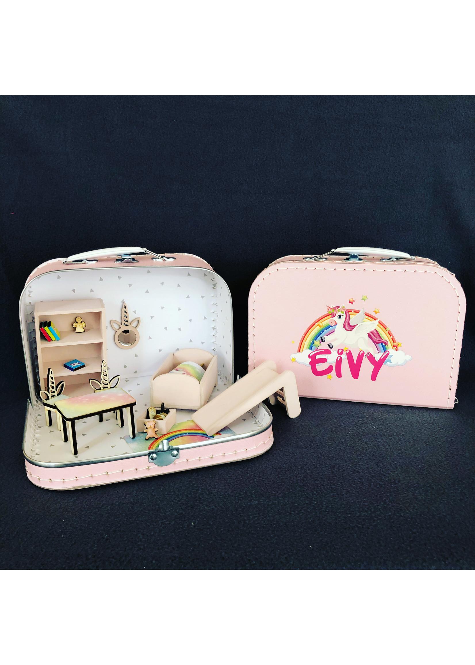 Tafel met unicorn stoelen voor poppenhuis (zelf plakken)