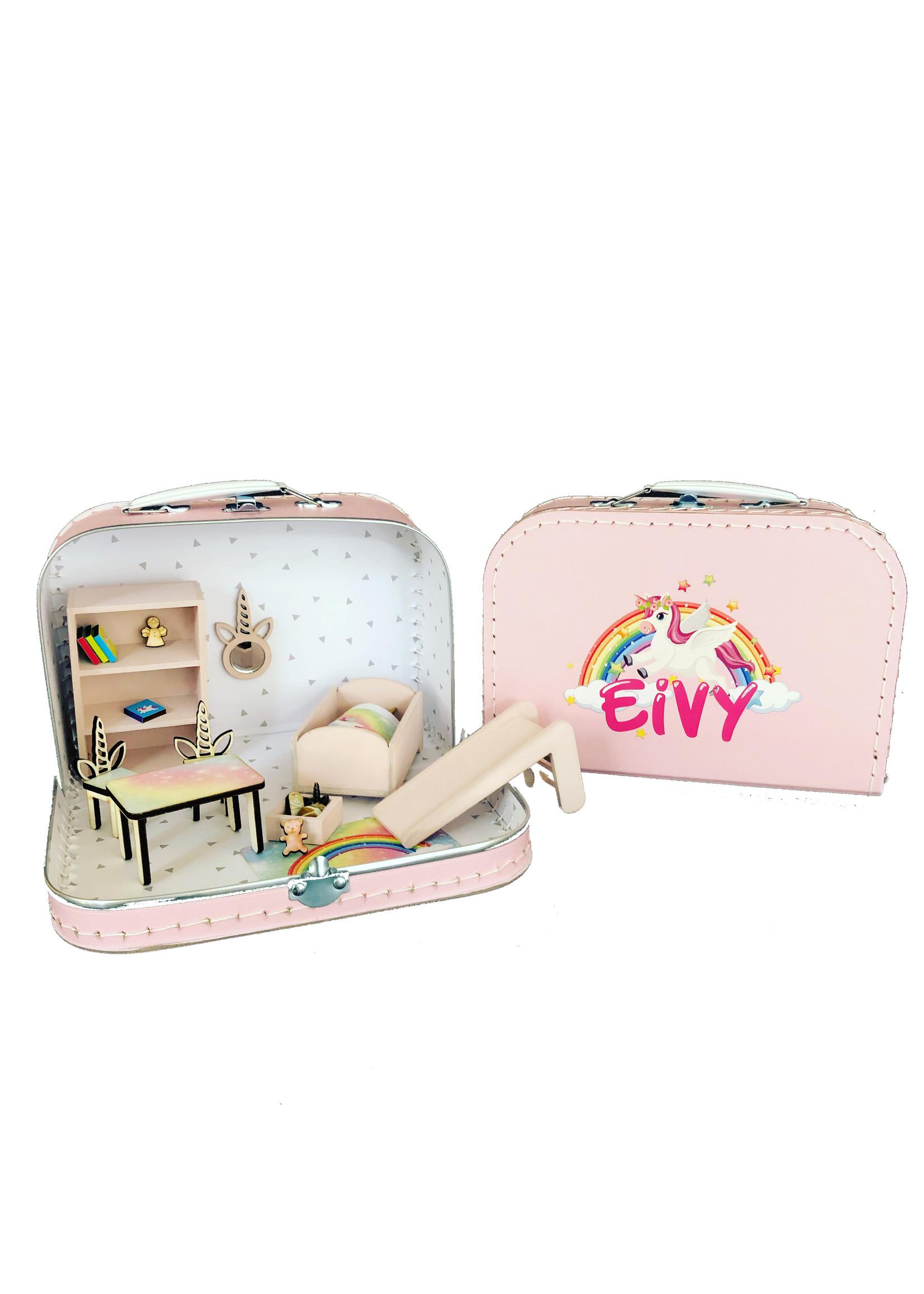 Kinder koffer poppenhuis unicorn met naam