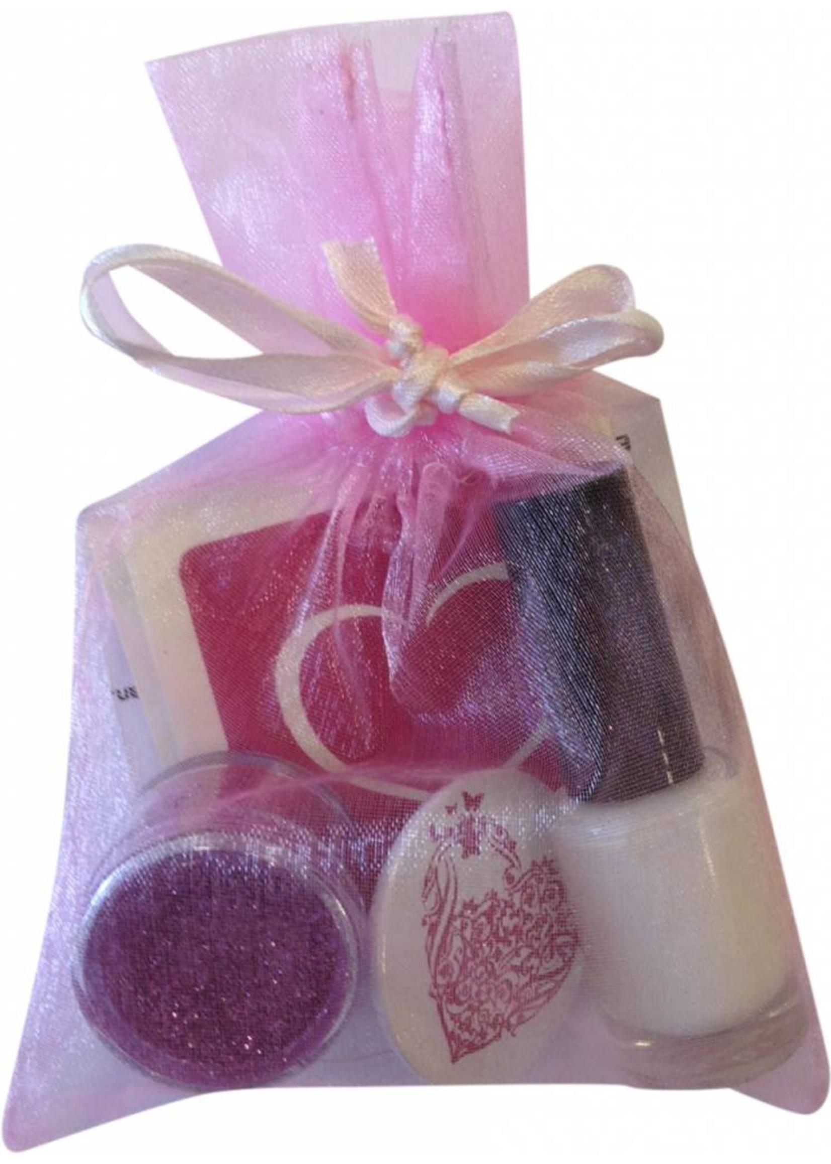 Glittertattoo cadeau set - love met button