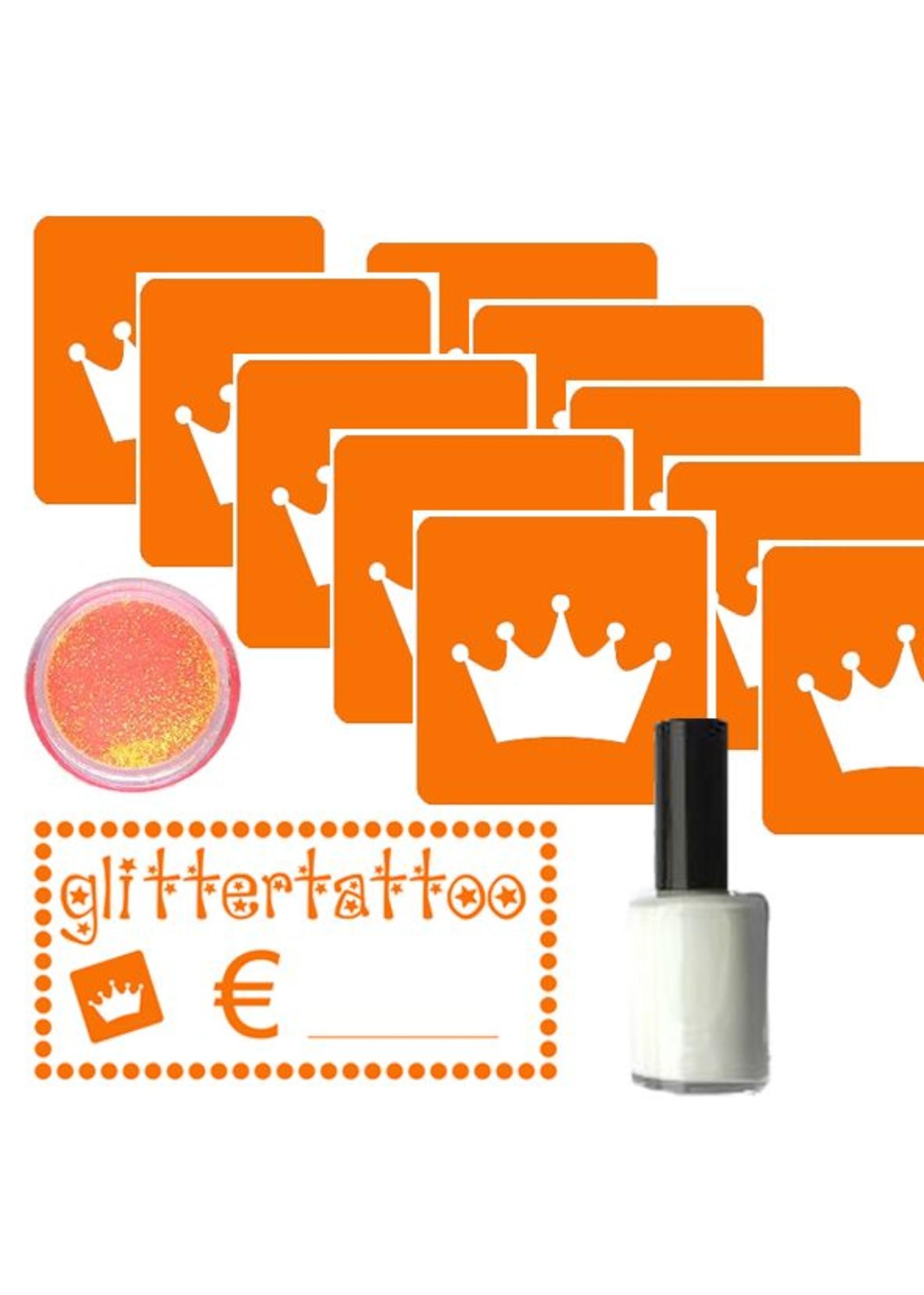 Glittertattoo set - Koningsdag met 10 sjablonen, huidlijm, opzetkaartje en oranje glitters